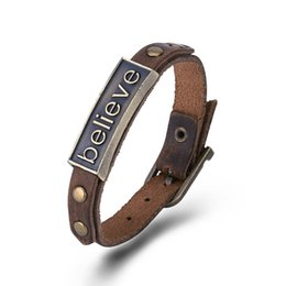 Wholesale Metal Handmade Jewelry - Vintage Punk Handmade Brown Genuine Leather Rope Bracelets Bangle Unisex Fashion Jewelry Wristbands with Metal charms H328 H329 H330 H331