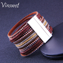 Wholesale Cool Slap - High quality diamond multi-layer leather bracelets beautiful pop punk magnetic buckle cool boy girl leather snap bracelet factory wholesale