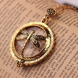 Wholesale vintage glass patterns - High Quality Vintage Magnifying Glass Pendant Necklace Dragonfly Pattern Pocket Watch Design Magnifier Fine Jewelry Gift