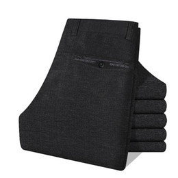 Wholesale Men Office Trousers - Wholesale-Autumn Winter Twill Cotton Flat Office Work Wear Gentleman Men Suit Pants Mens Cargo Business Trousers Men's Dress Pant calcas