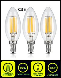 Wholesale C35 Led Lamp - 2W 4W LED Filament Candle Light Bulb E12 E14 E27 E26 B15 B22 Energy Saving Bulbs for Chandelier C35 C35T Edison Dimmable Candle Lamp