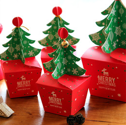 Wholesale Merry Christmas Boxes - 3D Christmas tree Gift Box with Bell DIY Cookie Cholocate Food Paper Boxes 30pcs lot Merry Christmas Paper Candy Box Apple Packaging