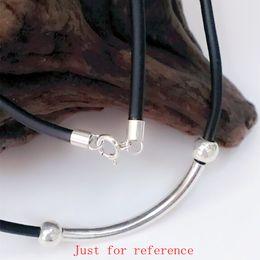 Wholesale Connectors 925 Silver - ashion Jewelry Necklace 3.0mm Black Rubber Cord Neckalce with 925 Sterling Silver Connectors & Clasps for Men Women 12pcs lot Chains ...