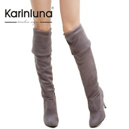 Wholesale Sexy Ladies Heel Knee Boots - Wholesale- Big Size 34-43 High Heels Women Boots Over the Knee High Boots Party Sexy Lady Fashion Winter Woman Shoes 2016 New