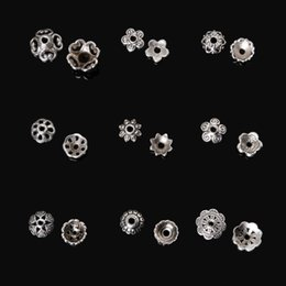 Wholesale Silver Filigree Bead Caps - 334Pcs Metal Flower Bead Caps Vintage Filigree DIY Jewelry Making Findings Mixed Silver Plated Accessories components supplies