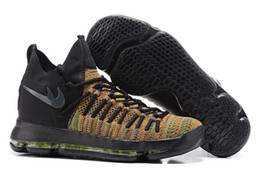 Wholesale Gold Elastic Thread - KD 9 Elite Multi Color Black Volt wholesale sales With Box Kevin Durant Elite Basketball shoes free shipping US7-US12