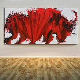 Wholesale Bull Canvas Painting - Modern Bull Painting,Pure Hand Painted Modern Wall Decor Abstract Red Bull Art Oil Painting On High Quality Canvas.Multi sizes Ab024