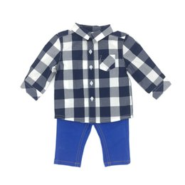 Wholesale Check Dhl - Baby Clothes Boys 2 Pieces Sets Spring Autumn Long Sleeve Check Pattern Cotton Pants Infant Boy Clothing DHL