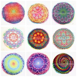 Wholesale floor pillows cushions - 24 Styles 43*43CM Cushion Pillow Cover Mandala Round India Indian Blue Floor Bohemian Pillowcase CCA6000 100pcs