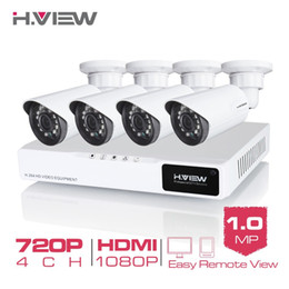 Wholesale Cctv Dvr Box - H.View 4CH CCTV System 720P HDMI AHD CCTV DVR 4PCS 1.0 MP IR Outdoor Security Camera 1200 TVL Camera Surveillance System