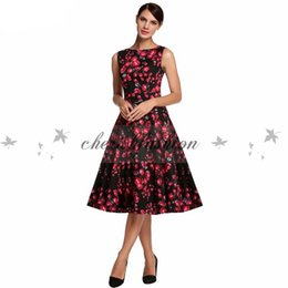 Wholesale Pinup Floral Dress - With Belt Fashion Vintage Dress Women Floral Print Summer Sleeveless Rockabilly Bow Dresses Pinup Girls 50s Swing Casual Dress Z185-B