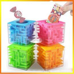 Wholesale Money Gift Boxes - Money Box Plastic Cubic Money Maze Bank Saving Coin Collection Case Cool Maze Design Money Bank Special Gift Box Magic Cube