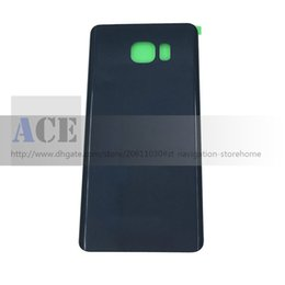 Wholesale Door Glass Sticker - 100PCS Battery Door Back Housing Cover Glass Cover for Samsung Galaxy S6 G920p S6 edge Plus G925p G928p Note 5 N920p with Adhesive Sticker