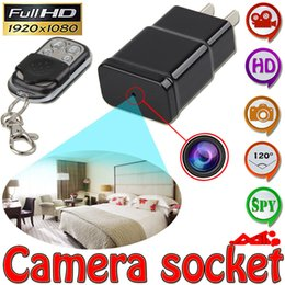Wholesale Mini Ac Adapter - 32GB 1080P HD Mini Spy AC Adapter Camera Charger Plug Hidden Camera DVR Video Recorder with Motion Detection Mini DV With Remote Control