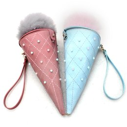 Wholesale Baguette Diamonds - Wholesale- Ladies Ice cream Bags PU Leather Handbags Messenger Woman Diamond Bag Women Mirror Fashion Luxury Plush Ball New Pearl Wallet