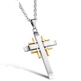 Wholesale Religious Gold Cross Pendant - hot sale stainless steel jewelry fashion Non-allergenic no rust titanium 50cm men woman religious cross pendant necklace