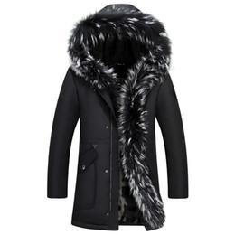 Wholesale Real Fur Coats Men - Men Down Jacket Winter Long Coat Duck Down Parkas Real Raccoon Fur Collar Snow Windbreaker Warm Thick Cashmere Tops 5XL Big Size