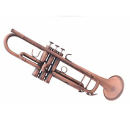 Wholesale Antiques Musical Instruments - Wholesale- B Flat Professional Trumpet Antique Copper Simulation Bb Trompete Musical Instruments Brass Trombeta For Beginners and Children