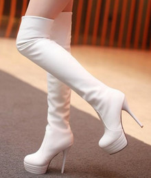 Wholesale White Goblets - wholesaler free shipping factory price hot seller Knee Boots high heel Heel lifed Thigh-High FabricBoots Fashion Boots 074