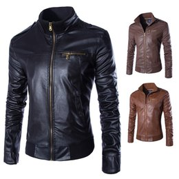 Wholesale 2xl Brown Mens Leather Jacket - Mens Spring Autumn Coat And Jacket New Style Leisure Slim Fit Genuine Leather Stand Collar Jacket Coat With Pocket