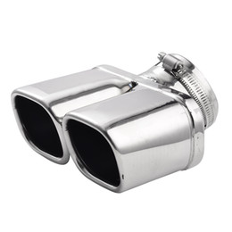 Wholesale Wholesale Car Mufflers - Y-Pipe Car Exhaust Pipe Stainless Steel Dual Round Tail Muffler Tip Pipe Auto Silver Color Inside Diameter 7 Cm Car Pipe