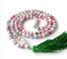 Wholesale Natural Jade Beads Necklace - Natural 8mm stone Colored jade 108 Prayer Beads Mala Bracelet Necklace