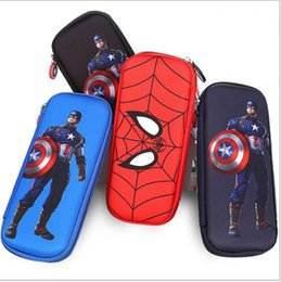 Wholesale Stationery For Boys - Captain America Stationery case for students Boy spider man pencil case Water proof multifunctional large capacity pencil case for children