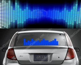 Wholesale Sound Activated Car Panel - Wholesale- 50*16 Blue Sound Music Activated Car Sticker DC 12V Equalizer Light EL Panel LED Equalizer Glow Flash Operated Window Wall Neon