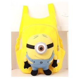 Wholesale Despicable Backpack School - 2017 children's backpack Cute 3D eyes Despicable Me Minion Plush Backpack Child PRE School Kid Boy and Girl Cartoon Bag School bag
