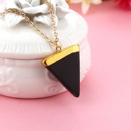 Wholesale Triangle Gem - Geometric Pesionality Colorful Nature Stone Necklace Triangle Crystal Necklaces Gems Stones Pendant For Women And Men Wholesale