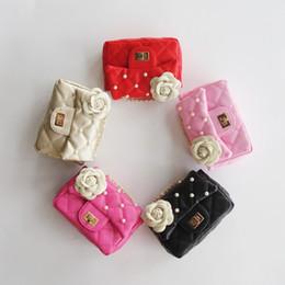 Wholesale Flower Girl Purses - Fashion Kids Flower beads Bag Stylish Baby Handbags Designer Toddler Purse Candy Color Kid Messenger Bag Children PU Shoulder Bags CK160