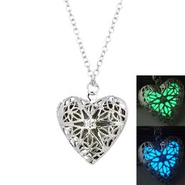 Wholesale Hollow Box Lockets - hot sale fashion jewelry Hollow heart shape luminous locket love luminous cube block box pendant necklace