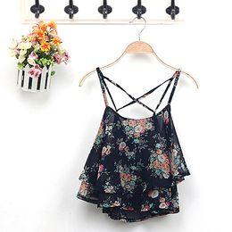 Wholesale Summer Blouses Sold Wholesale - Wholesale- 2015 Hot Selling Women's Summer Spaghetti Strap Flower Print Chiffon Shirt Vest Blouses Crop Top Free Shipping 6QM2