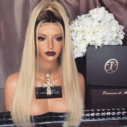 Wholesale Lightest Natural Blonde - Full Lace Human Hair Wigs Lightest Blonde 613 Peruvian Hair Straight Gluless Lace Front Human Hair Wigs for Black White Women