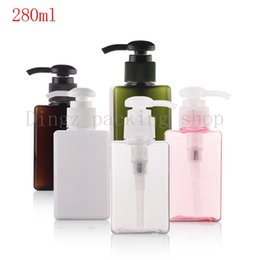 Wholesale Square Spray Bottles - (10pcs) 280ML white pink brown square with lotion pump bottle Soap Dispenser Cream Bottle with Spray Pump Plastic empty bottles