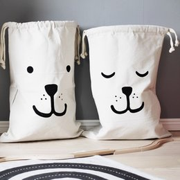 Wholesale Baby Book Bags - Ins Canvas Storage Bag Basket Organizers with Drawstring for Kids Toys Baby Clothing, Children Books Gift Baskets