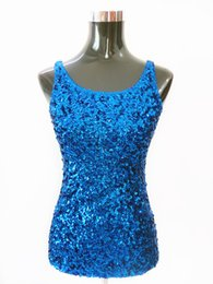 Wholesale Stage Clothing Gold - Summer Women Shimmer Glam Sequin Embellished Sparkle Tank Top Sexy Vest Tops Shining Camis Clubwear Stage clothing