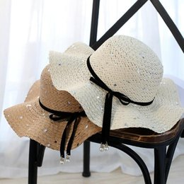 Wholesale Korean Straw Cowboy Hat - Beach, Korean wave, big sequins, straw hats, parents, lotus leaf, sun hat, new lady, beach cool hat wholesale