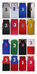 Wholesale White Basketball Shorts Yellow - Men Basketball Retro 76erz #3 Allen Iverson Black Blue Red Green Yellow White Throwback Jerseys Short