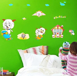 Wholesale Sheep Wall Stickers - Pleasant Sheep Wall Stickers Removable Wallpaper Children Kid Room Cute Hot Decor Large Decoration Adhesive Wall Home Landscape