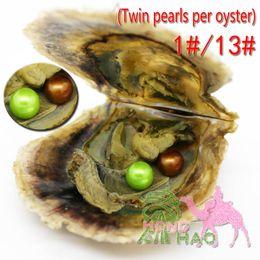 2019 bezaubert zwillinge Charmante weibliche Regenbogenfarbe 6-7 mm runde Akoya-Perle in Austernzwillingen in einem Vakuumbeutel. Beste Wahl auf einer Party