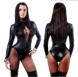 Wholesale Long Sexy Bodysuits - Women's Jumpsuit Black Sexy Leather Dresses Long Sleeve Bodysuits Erotic Leotard Latex Catsuit Costume