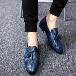 Wholesale Knitting Patterns Designer - Spring New Designer Men Casual Comfort Shoes Blue Tassel Charm Knit Pattern Leather Shoes Trending Leisure Shoes Man Plus Size 12 13 14