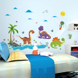 Wholesale dinosaur stickers - Wall Sticker Removable Cartoon Dinosaur Park Fun Decal For Kid Room Nursery Decoration Creative Stickers Hot Sale 3 6qc F R
