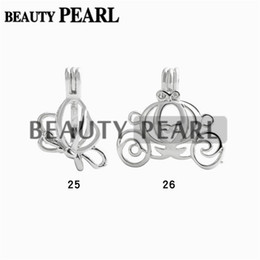 Wholesale Fly Charm - 10 Pieces Wholesale Pearl Pendant Charms Lockets Cage Mixed Flying Butterfly and Carriage Wish Cages Jewelry