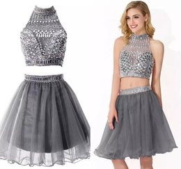 Wholesale Girls Skirt Straps - 2017 Real Images Two-Piece Homecoming Dresses A Line Halter Neck with Beads Crystal Knee Length Tulle Skirt Cocktail Gowns Girl Prom Dresses