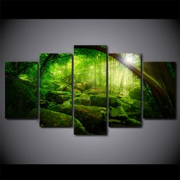 Wholesale Canvas Oil Painting Landscape Forest - Unframed 5 panel Green Forest Sunshine Scene Paintings Canvas Print Oil Modular Pictures For Home decor Room Wall Art poster