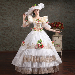 Wholesale Belle Costume Renaissance Gown - Marie Antoinette Masquerade Dresses Renaissance Southern Belle Ball Gowns 2017 New Floral Printed Theatrical Clothing Women Lace Dress FN209