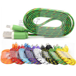Wholesale Noodle Cables - For Galaxy S7 S6 Cable Micro USB Cable Braided Noodle Flat USB Cord High Speed Nylon Braided Colorful V8 Cable