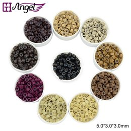 Wholesale Brown Micro Bead Hair Extensions - GH Angel 5.0*3.0*3.0mm Silicone Micro Links Beads For I Tip Hair Extensions Link Beads DIY Tools 1000pcs Brown Blonde